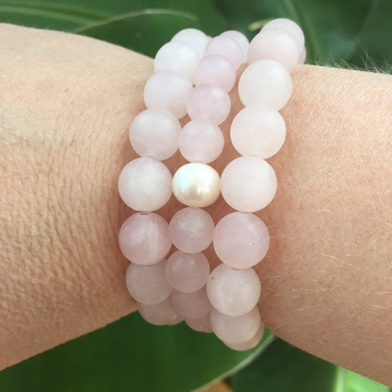 MVF Gemstone Stretch Bracelet Rose Quartz and Pearl