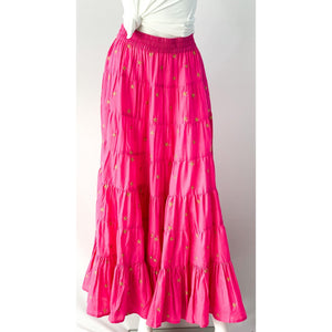 La Plage Jaipur Maxi Skirt Bougainvillea Pink with Gold Star Embroidery