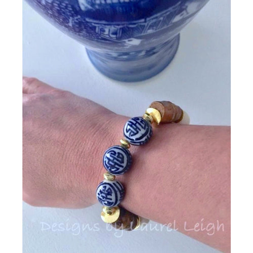 Designs by Laurel Leigh Blue and White Chinoiserie Bamboo Statement Bracelet