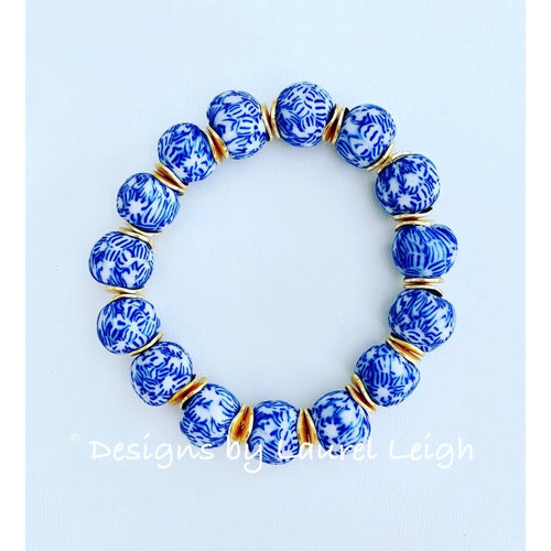 Designs by Laurel Leigh Blue and White African Glass Bracelet