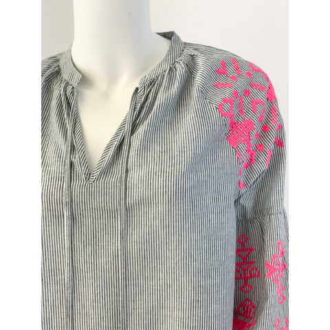 La Plage Madison Tunic Top Striped with Neon Pink Embroidery
