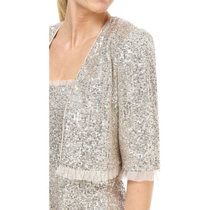 Gal Meets Glam Diana Sequin Ruffle Hem Jacket Silver