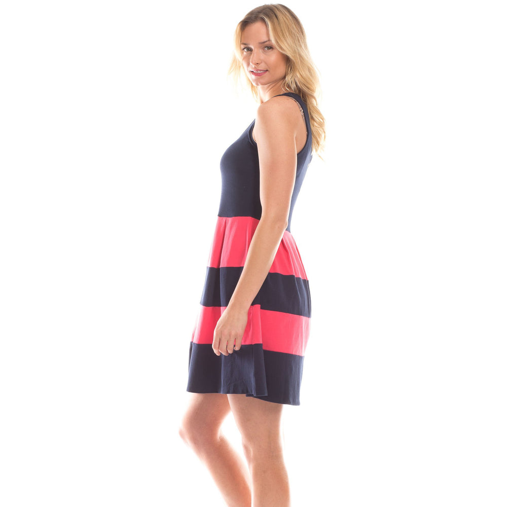 Load image into Gallery viewer, Duffield Lane Ludington Striped Dress Berry/Navy