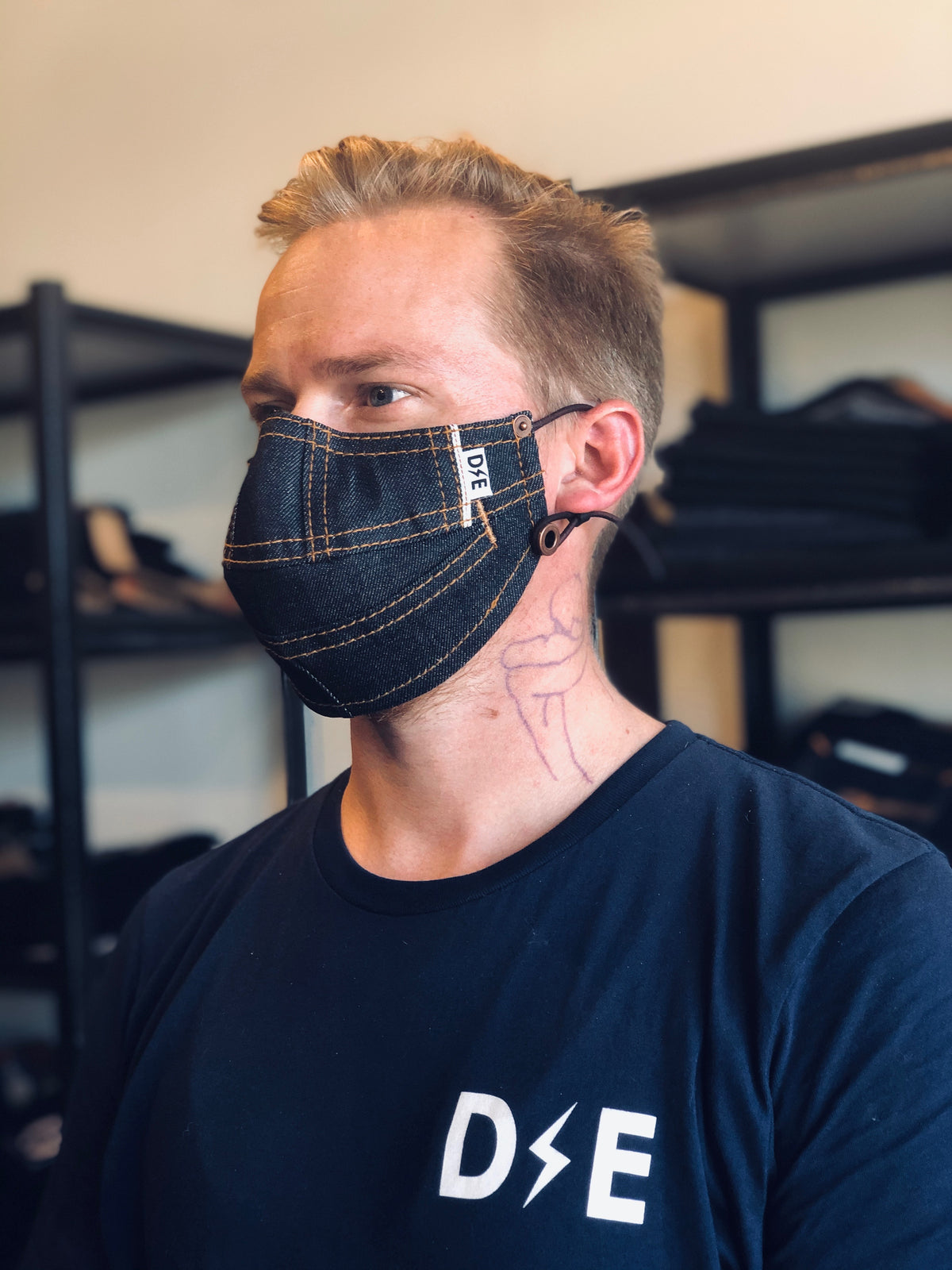 Selvedge Denim Face Mask by Deep Ellum Denim