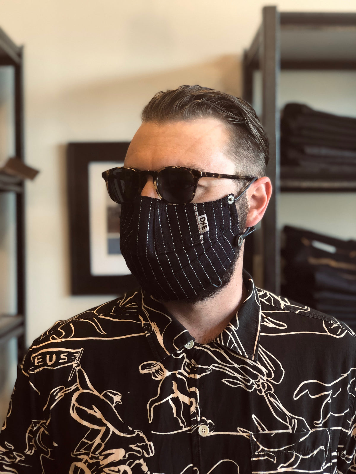 Railroad Stripe Canvas Face Mask by Deep Ellum Denim