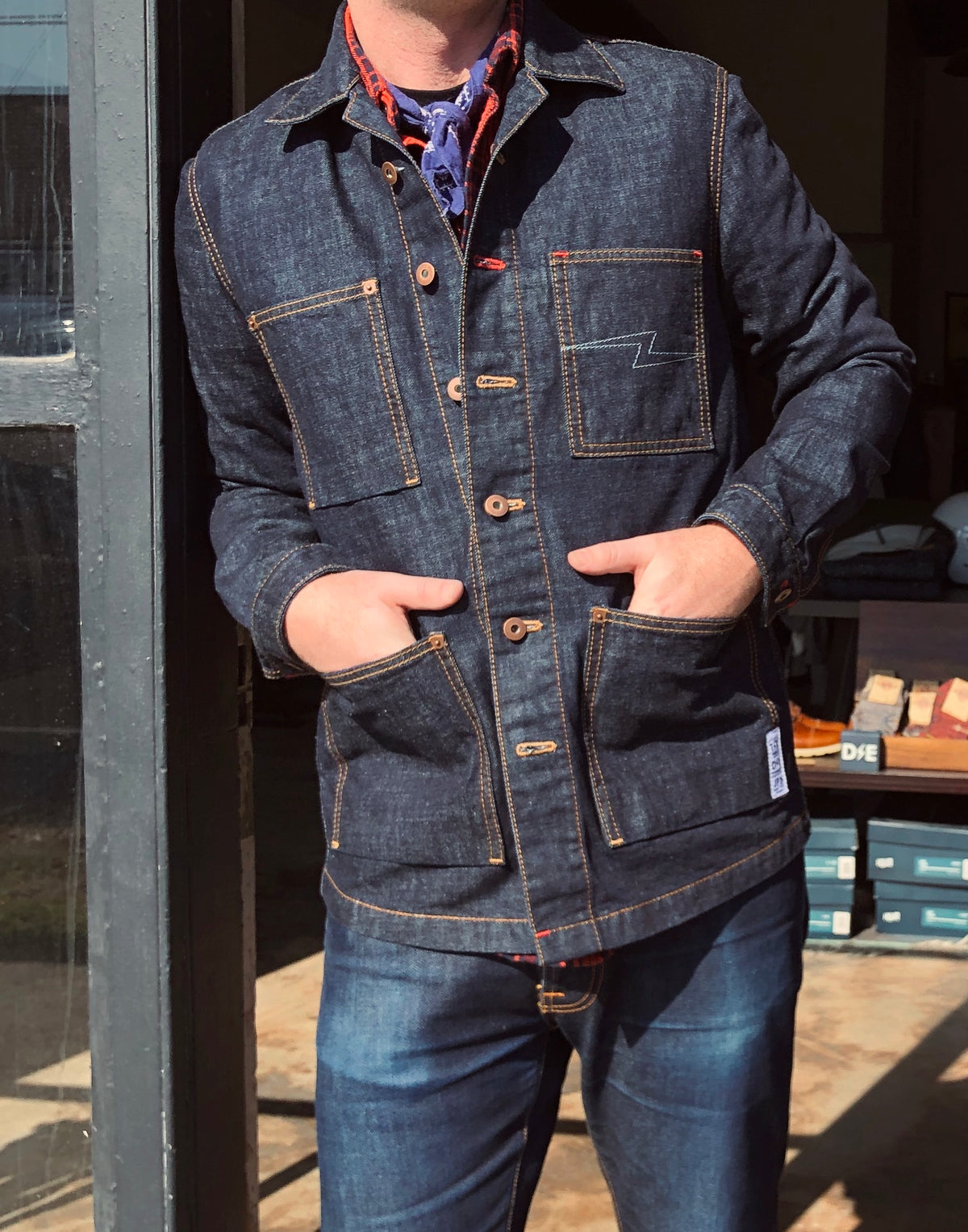 """Storm Rider"" Denim Chore Coat Jacket by Deep Ellum Denim"