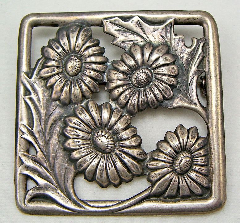 Arts and Crafts Sterling Silver Floral Brooch