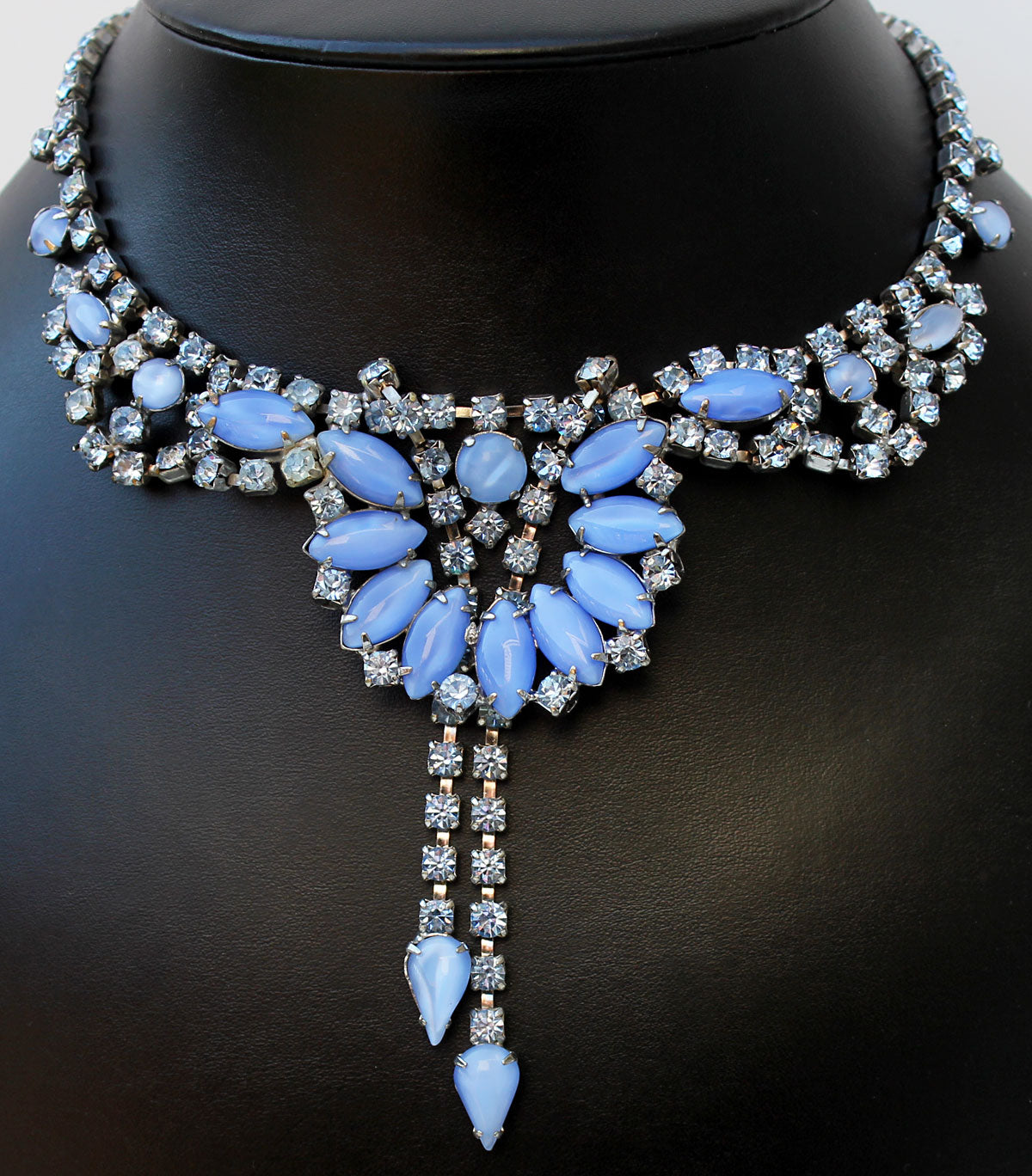 1950's Blue Rhinestone Necklace and Earrings