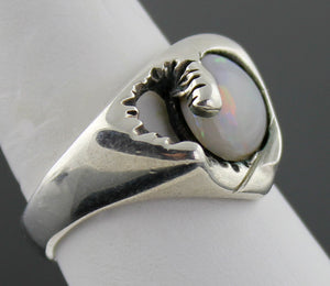 Gerald Stinn Modernist Sterling Silver and Opal Ring
