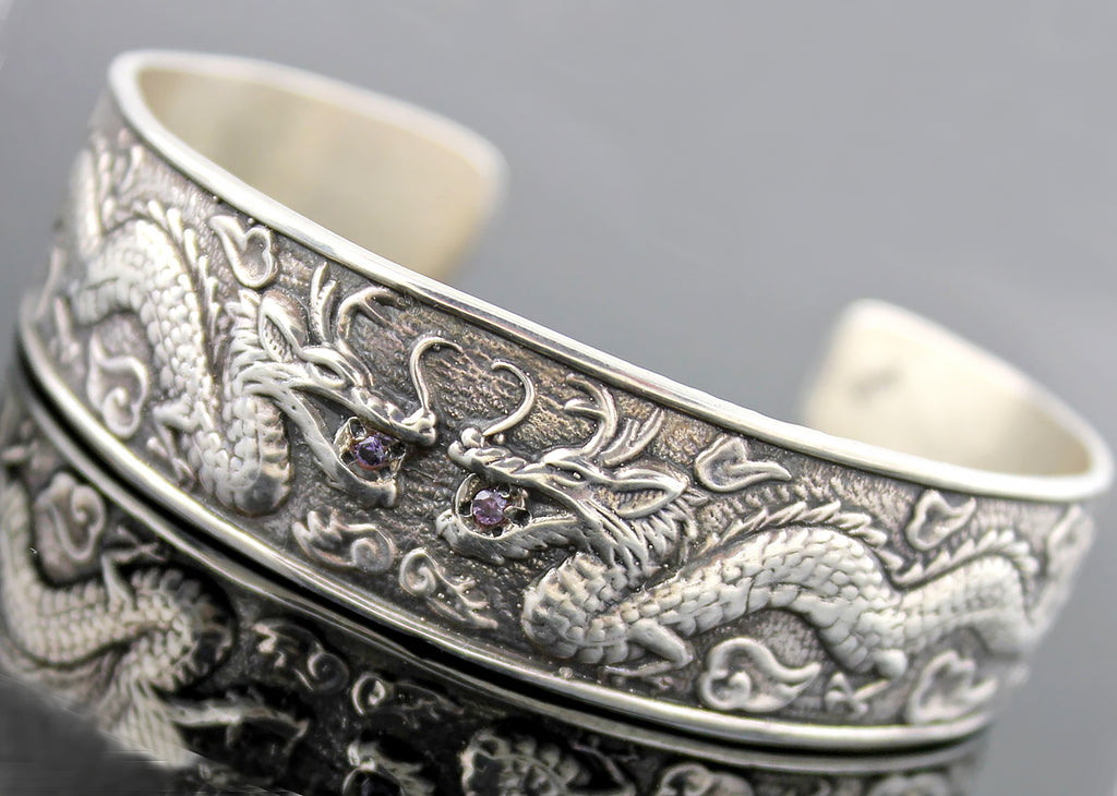 Sterling Chinese Double Dragon Bracelet