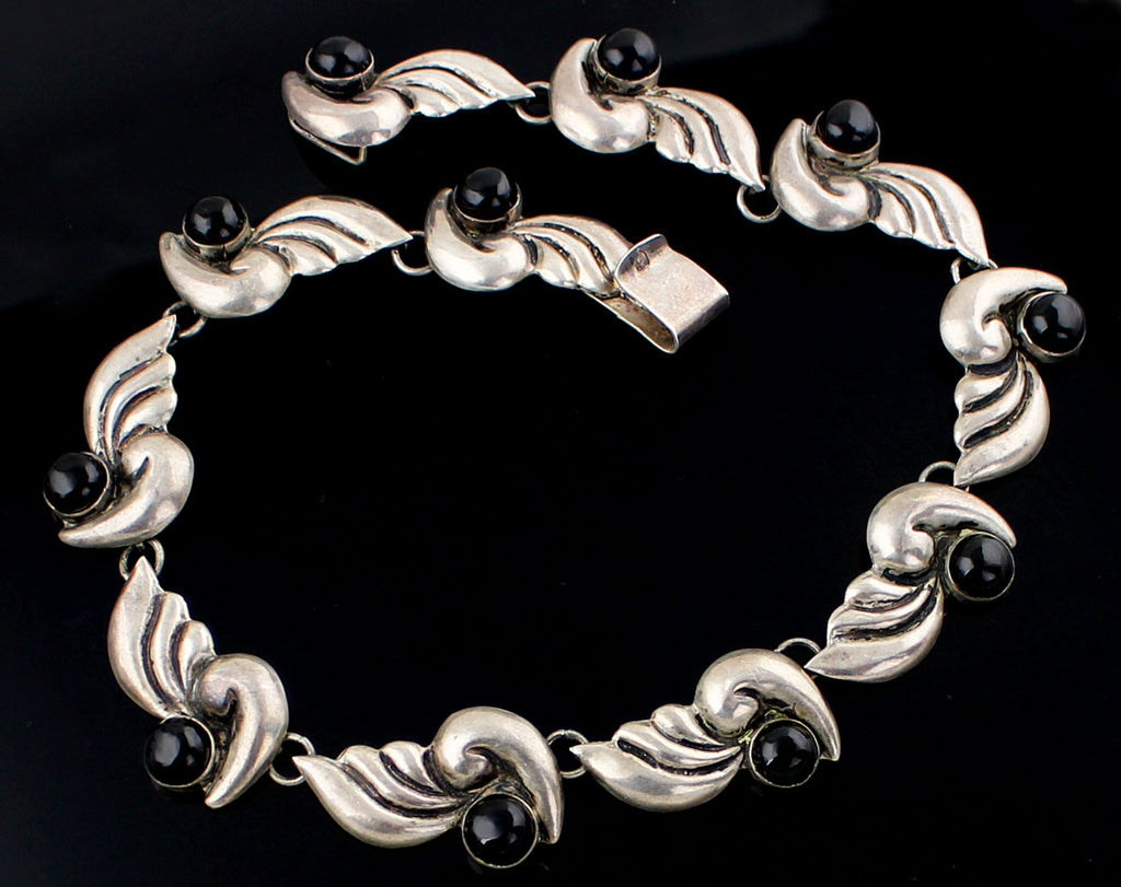 Vintage Mexican Sterling and Onyx Necklace - 1950