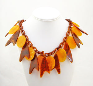 lucite products large vintage copper necklace orange mae