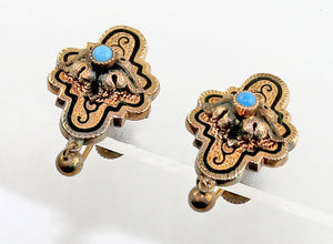 Victorian Gold Tone and Enamel Earrings