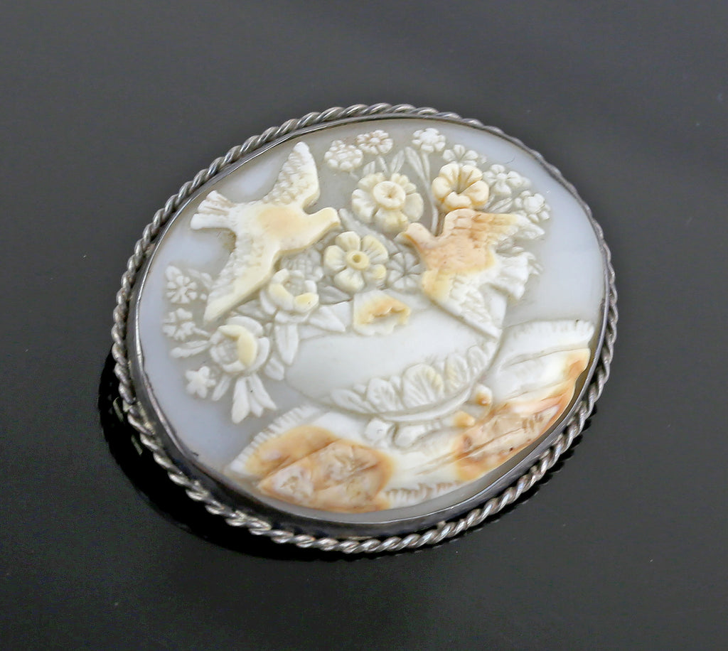 Victorian Carved Shell Cameo Birds and Fountain