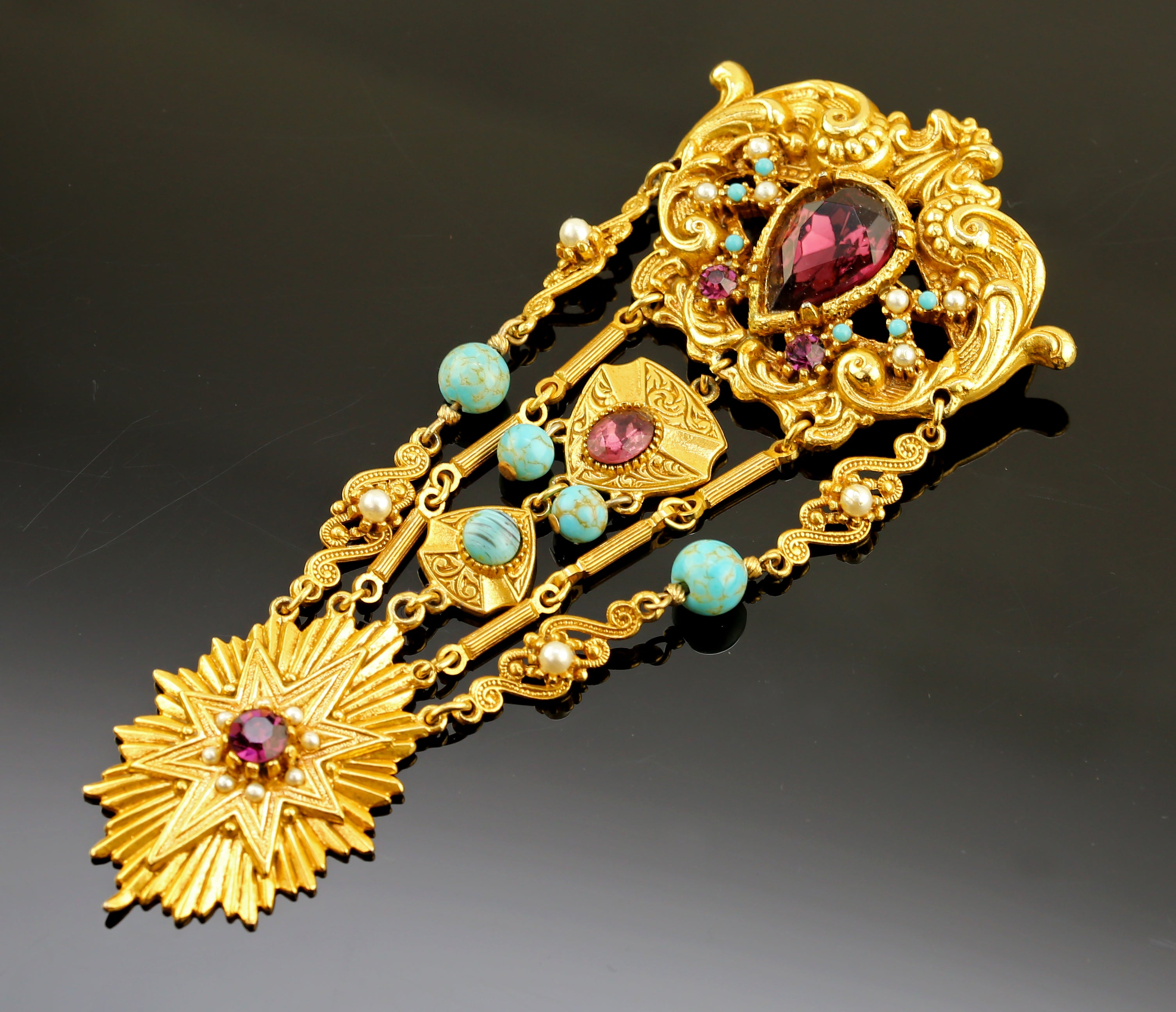 Coro Brooch  Gold Tone and Jewels - Full Regalia