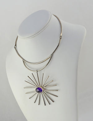 Mid Century Sterling and Amethyst Starburst Necklace