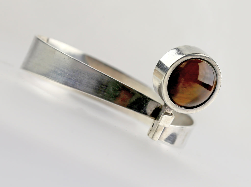 Modernist Sterling and Tiger's Eye Bracelet - Israel