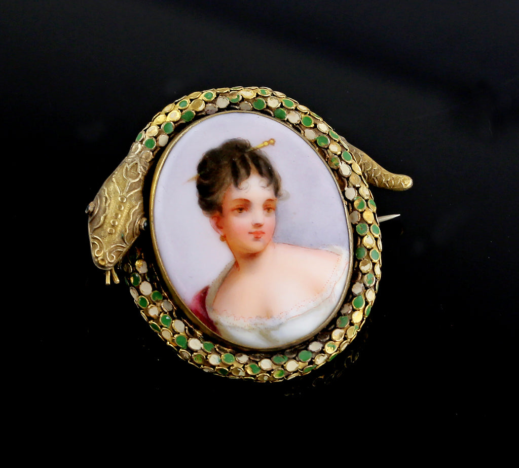 Antique Victorian Hand Painted on Porcelain Brooch in Snake Frame