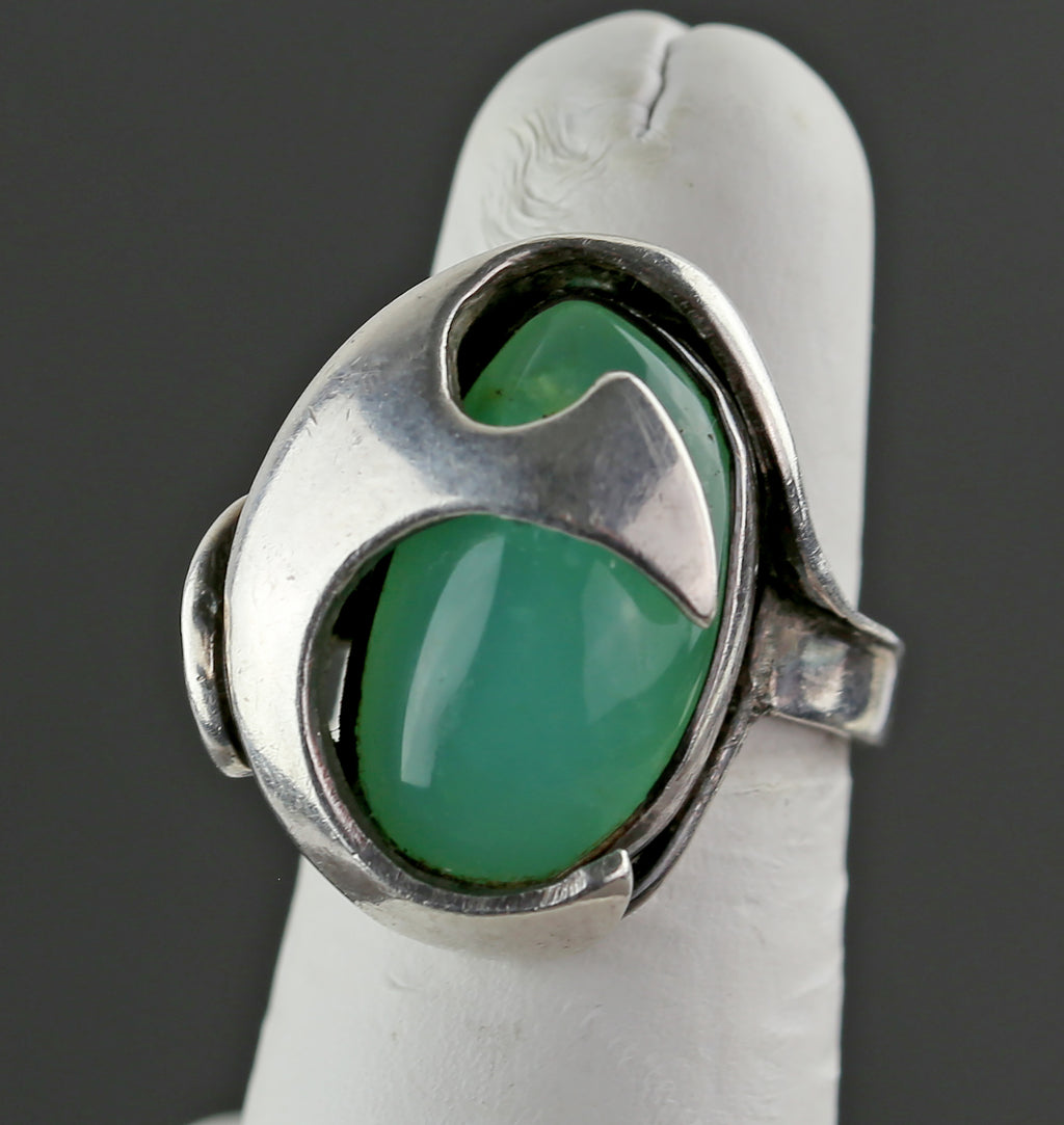 Modernist Sterling and Chrysoprase Ring