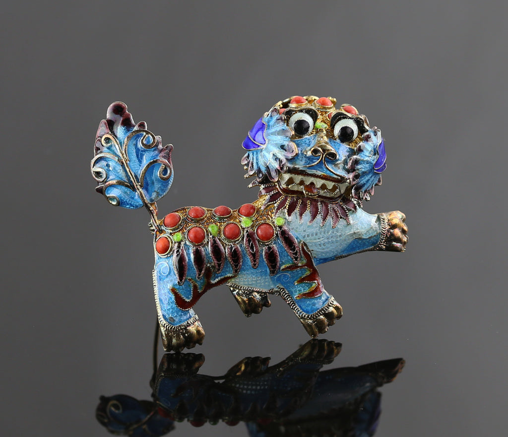 Vintage Chinese Sterling and Enamel Foo Dog Brooch