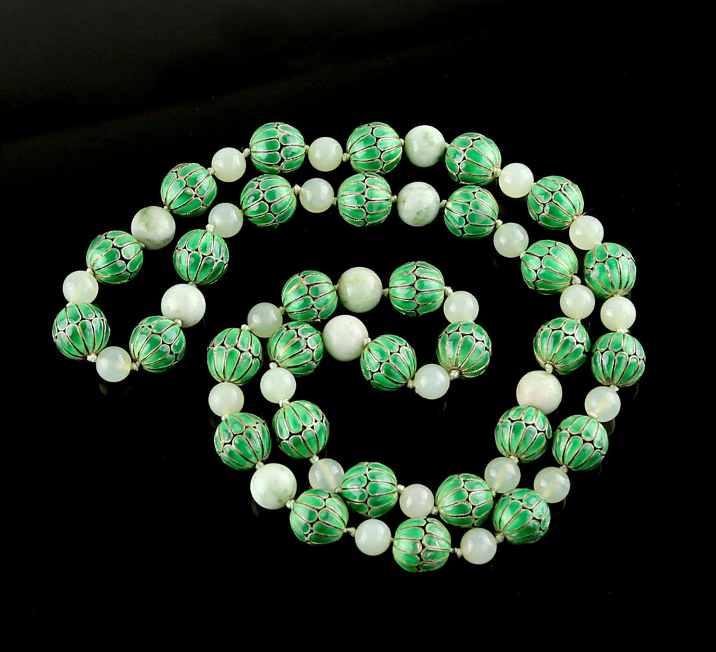 Vintage Chinese Enamel and Jade Bead Necklace