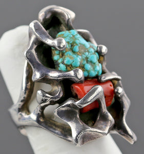 1950's Modernist Turquoise, Coral and Sterling Ring - Southwestern Style