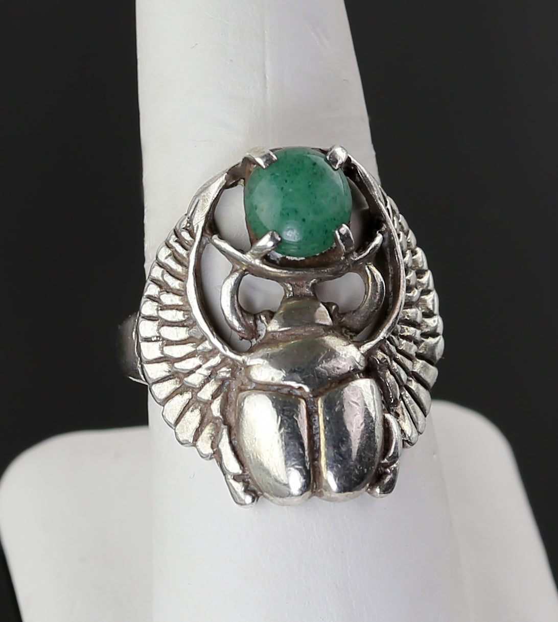 Art Deco Egyptian Revival Sterling Scarab Ring