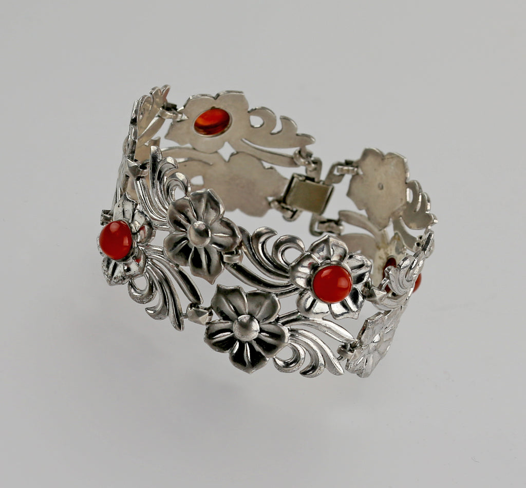 Art Deco Sterling and Carnelian Floral Link Bracelet