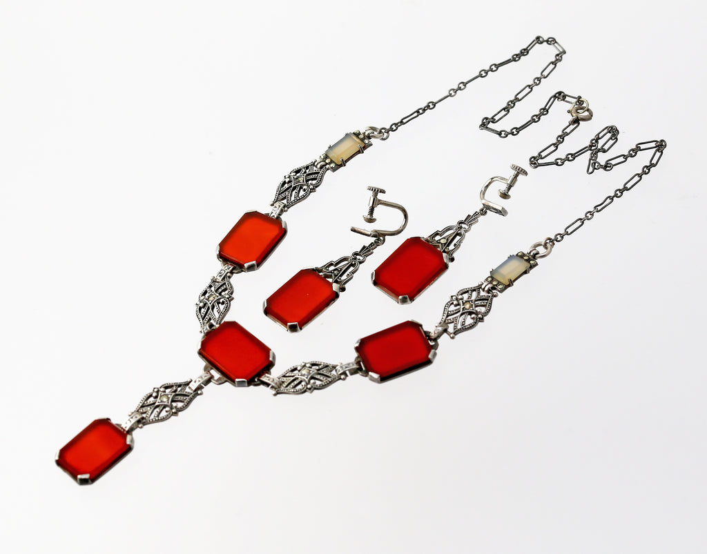 Art Deco Sterling, Marcasite and Carnelian Necklace and Earrings
