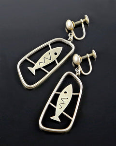 Vintage Sterling Caged Fish Earrings