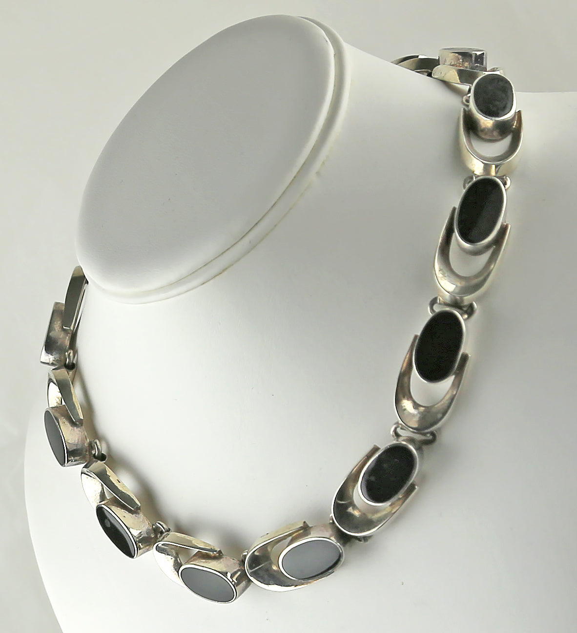 Vintage Mexican Sterling Silver and Onyx Necklace