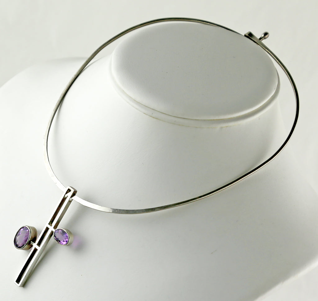 Modernist Amethyst and Sterling Necklace