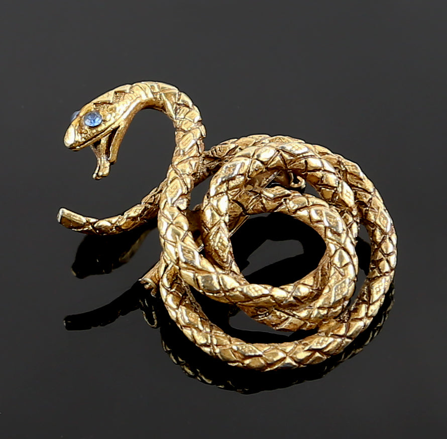 Vintage Snake Brooch with Glass Eyes