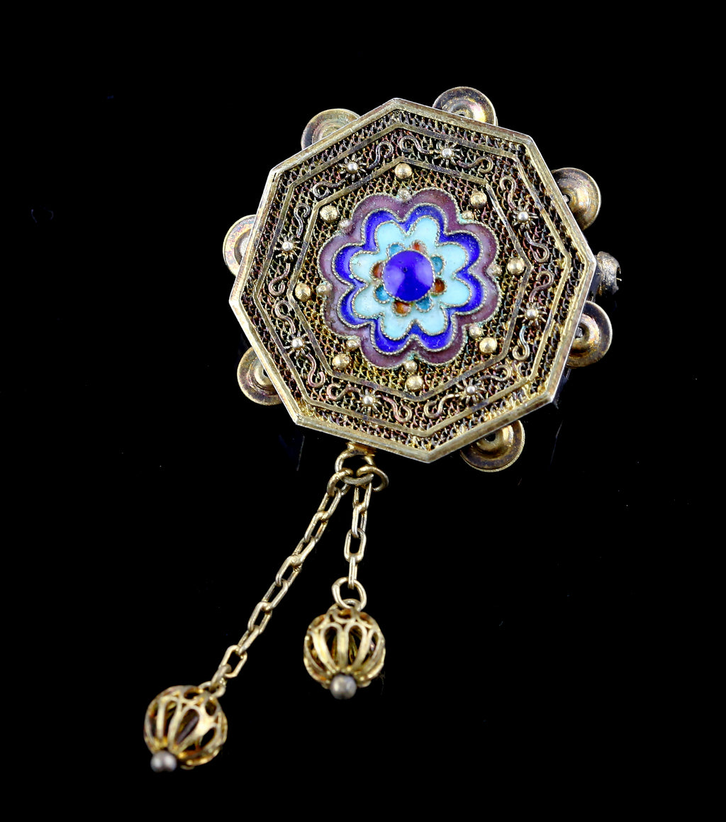 Antique Chinese Silver and Enamel Pendant/Brooch