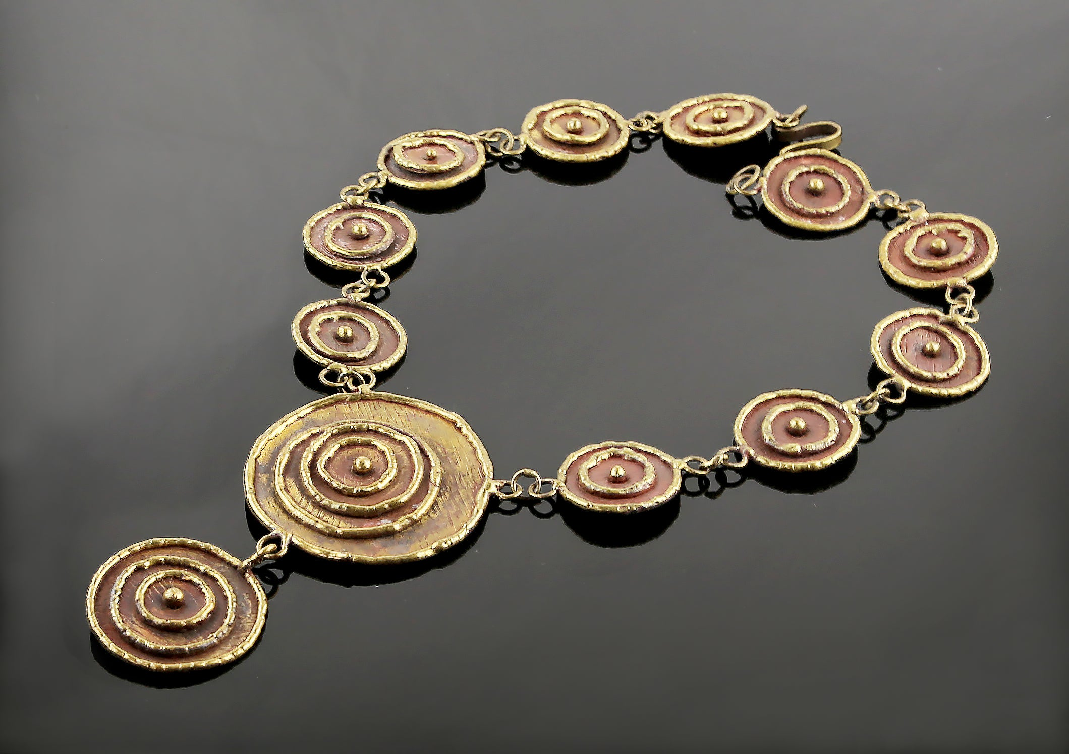 Modernist Handcrafted Brass Necklace - Mexican Designer Luciano