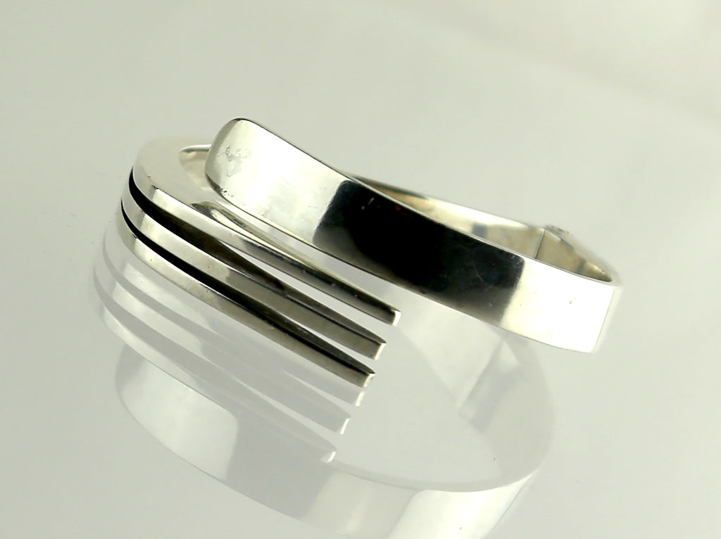 Vintage Mexican Sterling Clamper Bracelet - Modernist Design