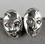 Vintage Sterling Silver Mask Earrings