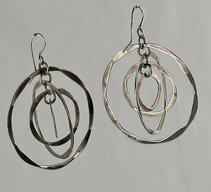 Vintage Sterling Silver Kinetic Circle Earrings