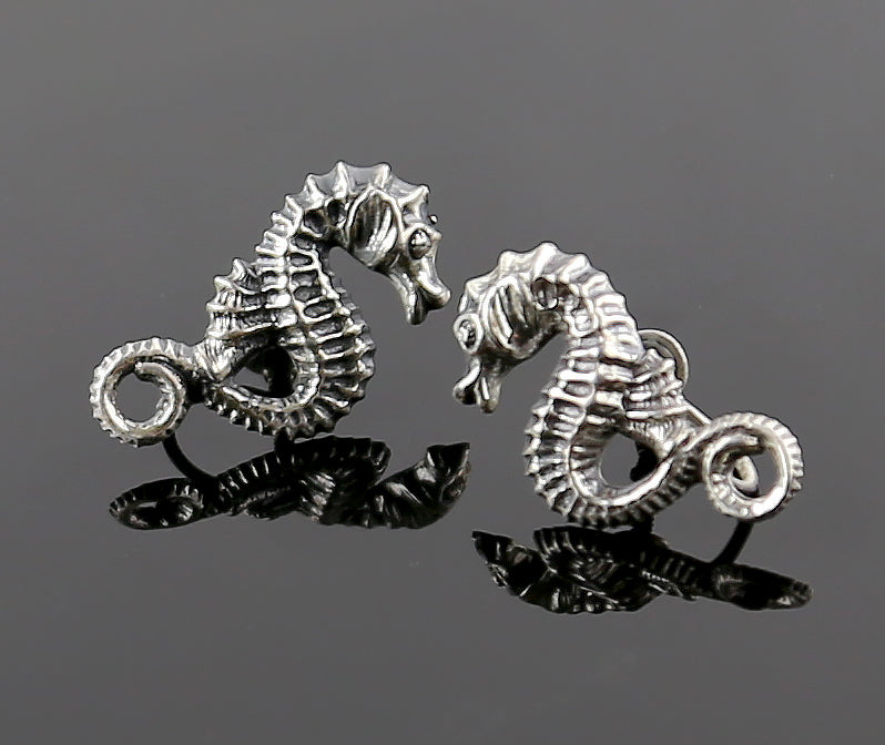 Vintage Sterling Silver Sea Horse Earrings