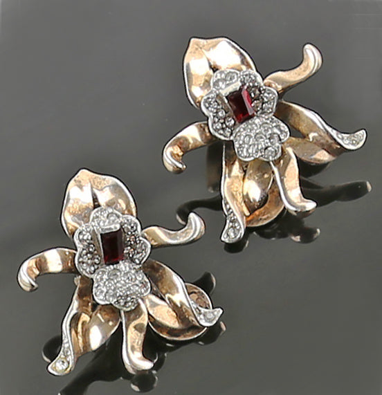 Sterling Silver Orchid Earrings 1950