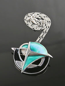 Modernist Sterling and Enamel Necklace/Brooch