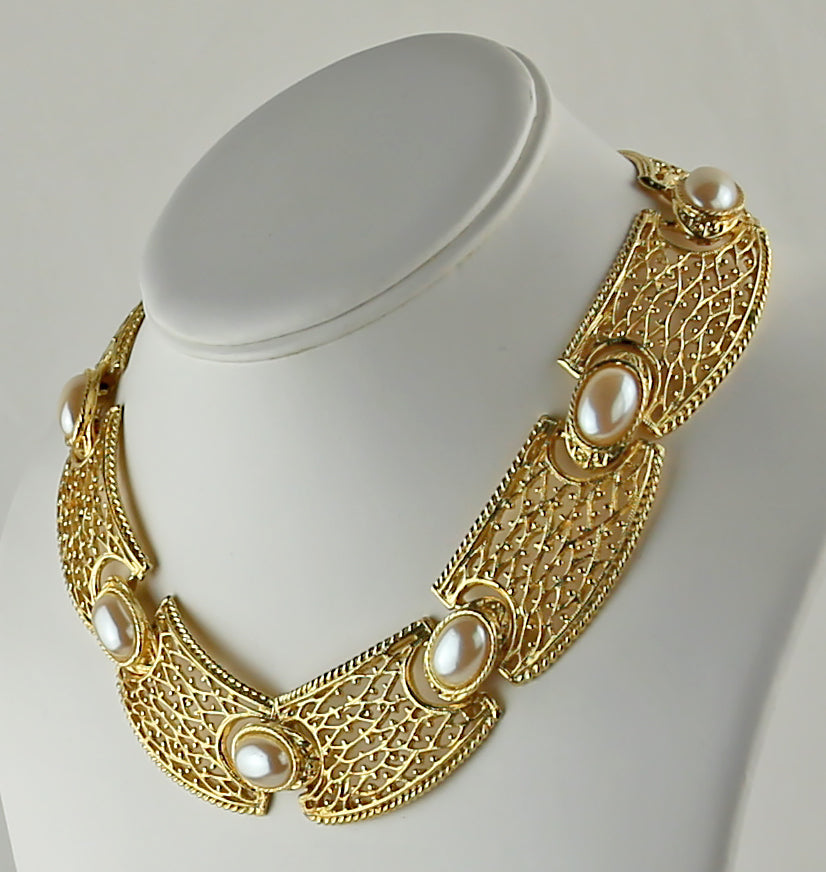 Goldette Gold Tone and Pearl Necklace