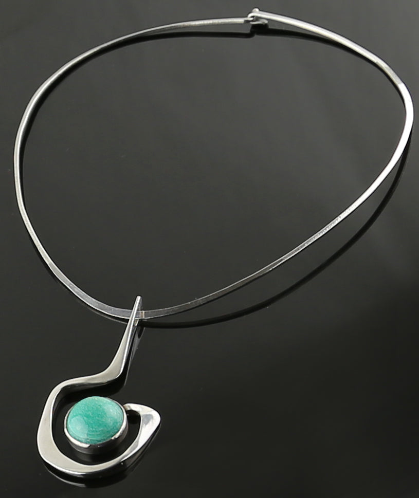 Modernist Sterling Necklace Vintage 1950