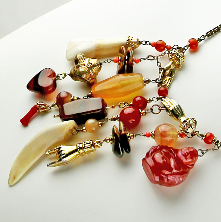 Vintage Charm Necklace - Stones and Bones - 1940's