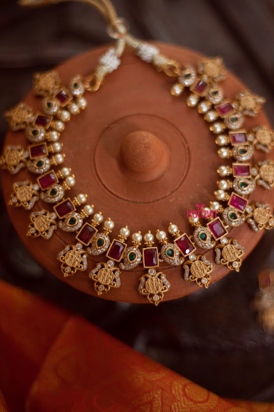 Ram Parivar Manga Necklace With Ruby & Green Stones