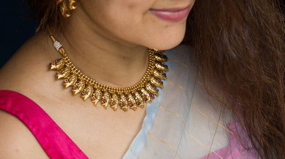Mythri - Golden Fish  Necklace Set