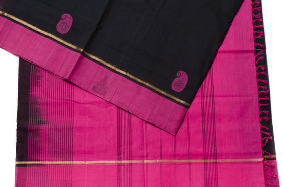 Black Magenta Handloom Saree HA009 - Kattam Jewellery Instagram Store