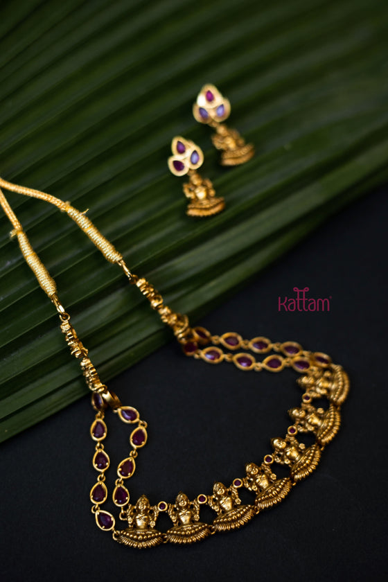Goddess Lakshmi Ruby Gold Necklace Set