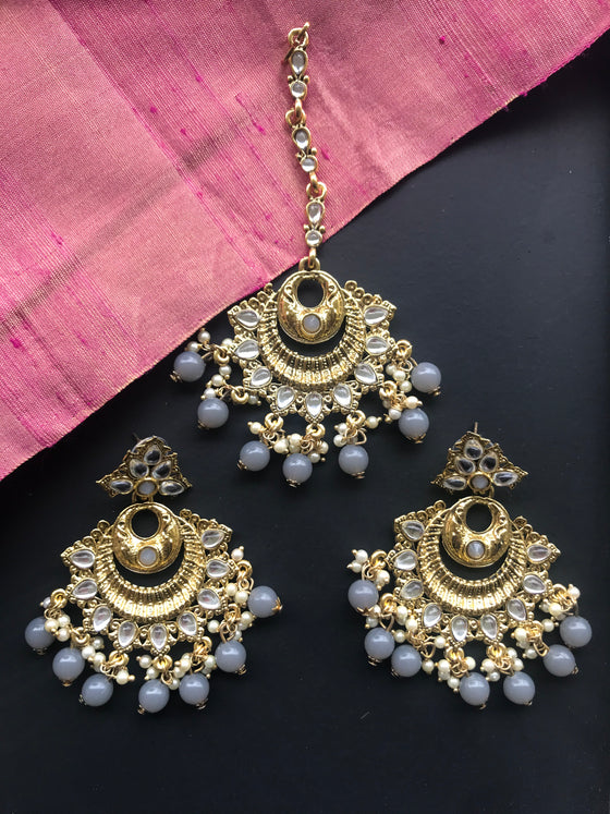 Kundan Mang Tikka and Earrings Set