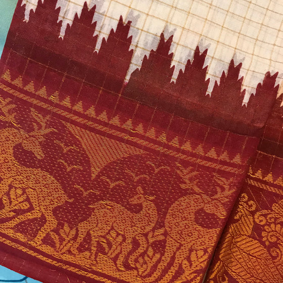 Sungudi Zari Temples Checkered Saree - Kattam Jewellery Instagram Store